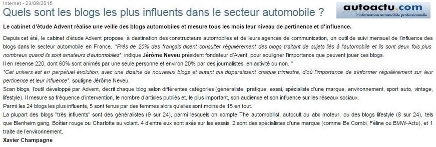 Article autoactu.com - Quels sont les blogs les plus influents dans le secteur auto
