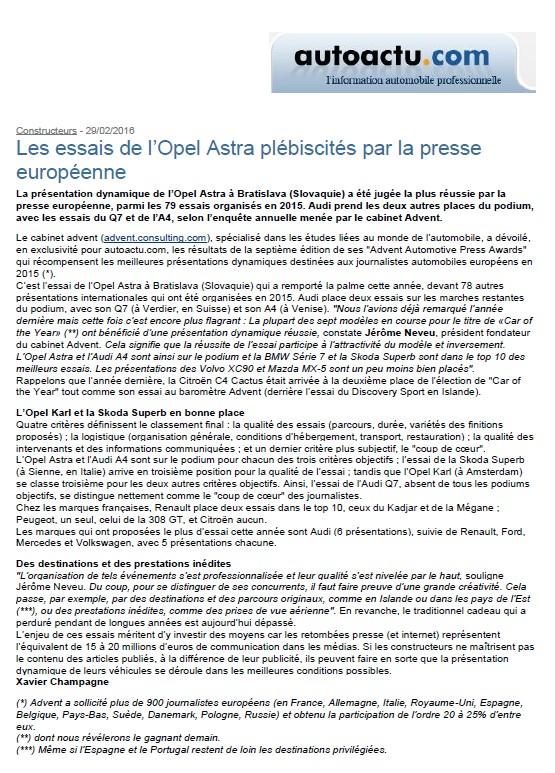 Article autoactu.com - Février 2016 - Les essais de l'Opel Astra plébiscités par la presse européenne